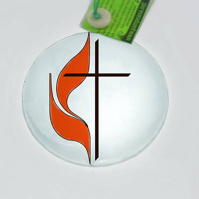 Cross and Flame Glass Ornament