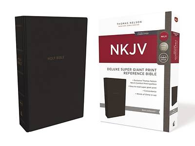 NKJV, Deluxe Reference Bible, Super Giant Print, Imitation Leather, Black, Red Letter Edition, Comfort Print