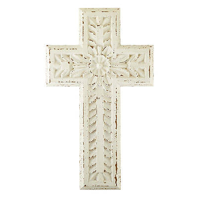 Picture of White Carved Wood Cross