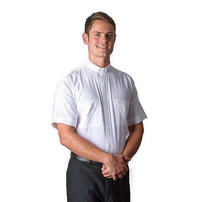 MDS Short Sleeve Tab Collar Clergy Shirt White - 15""