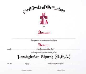 Presybterian Ordination of Deacon Flat Certificate (Book of 15) PC(USA)
