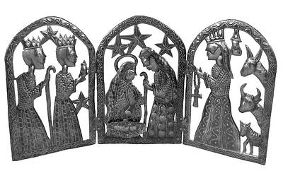 Metal Triptych Nativity