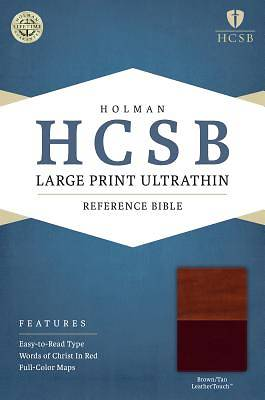 HCSB Large Print Ultrathin Reference Bible, Brown/Tan Leathertouch