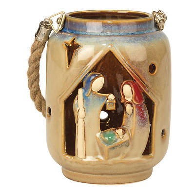 """Picture of LED Lighted Lantern with Holy Family Ceramic 6"""""""