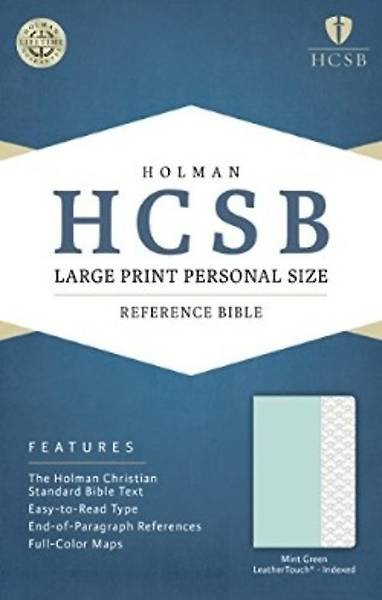 HCSB Large Print Personal Size Bible, Mint Green Leathertouch, Indexed