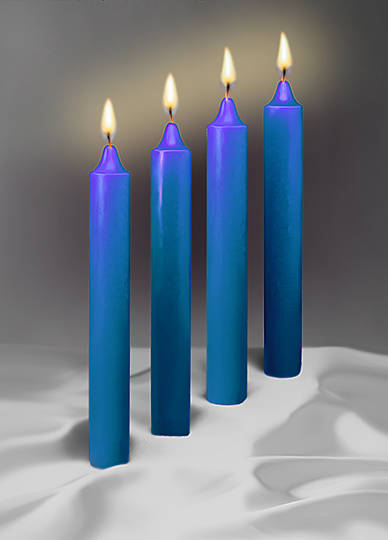 "Blue Advent 17"" X 1 1/2""  Beeswax Candles"