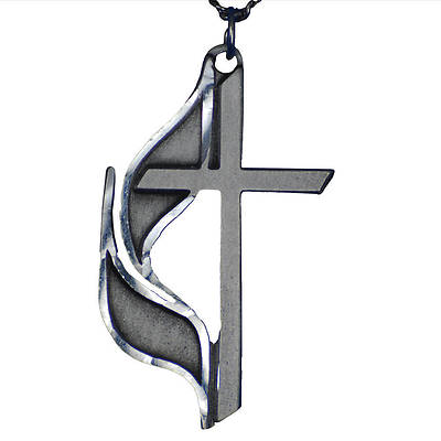 Picture of United Methodist Cross & Flame Pewter Necklace