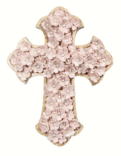 "Pink Floral Wall Cross 12""H"
