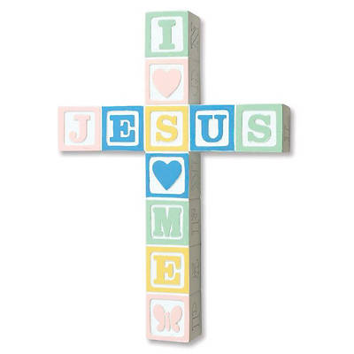 I Love Jesus Cross-Pastel