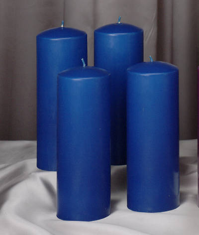 "Advent 9"" x 3"" Pillar Candles-- 4 Blue (Set of 4)"