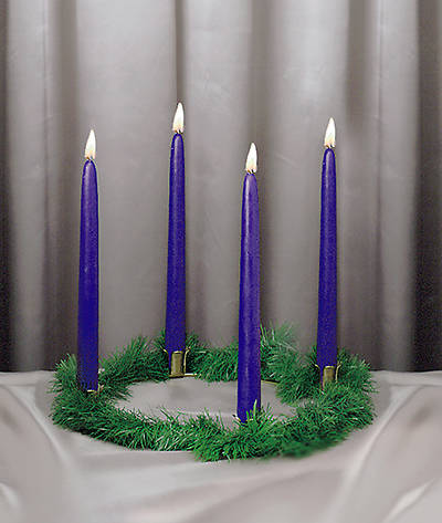 Picture of Advent Wreath With 4 Blue Candles Evergreen Trim