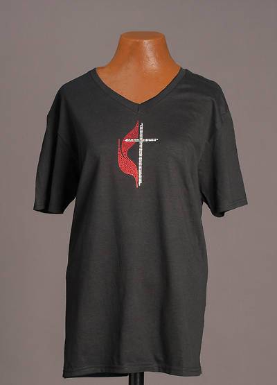 Black V-Neck Cross and Flame Bling T-Shirt - LG