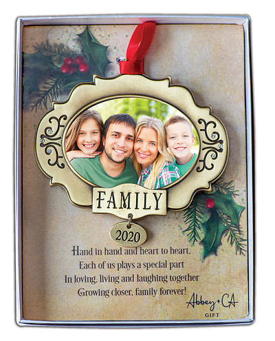 Picture of 2020 Family Photo Ornament with Clear Crystals on Red Ribbon
