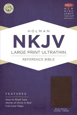 NKJV Large Print Ultrathin Reference Bible, Brown Genuine Cowhide Indexed