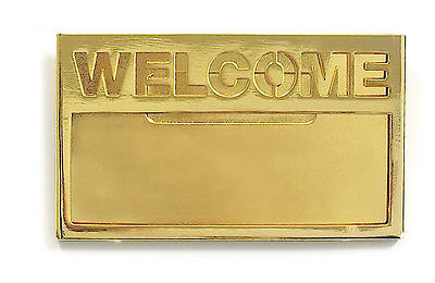 Brass with Cut-Out Lettering Welcome Badge