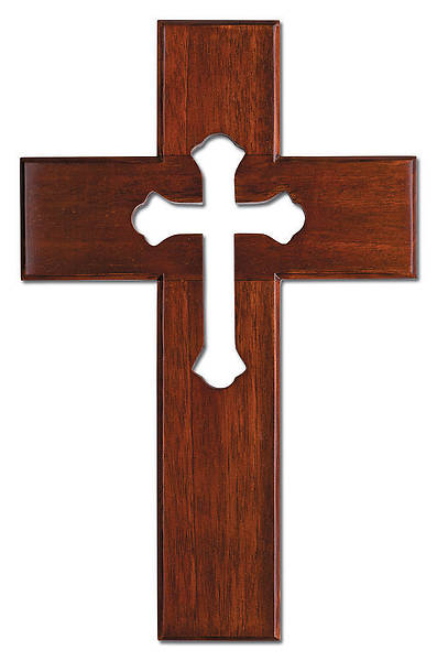 Mahogany Cut-Out Center Wall Cross