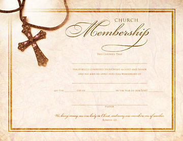 Foil-Embossed Cross Membership Flat Certificate (Package of 6)