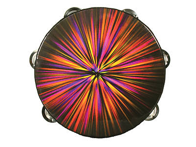 Red Starburst Single Row Tambourine - 8""