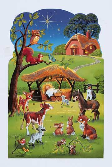 Calendar Advent Manger w/Animals and Red Envelope