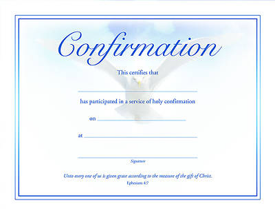 Dove Premium Foil Embossed Confirmation Certificate (Package of 6)
