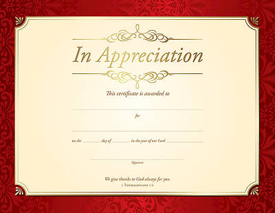Picture of In Appreciation Certificate - 1 Thessalonians 1:2 - (PK 6)