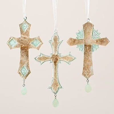 Gold and Mint Green French Cross