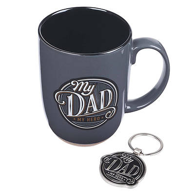 Picture of Grey Ceramic Coffee Mug Gift Set for Fathers - My Dad My Hero - Proverbs 14:26