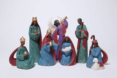 Picture of Gold Trim African American Nativity Set (7 Piece)