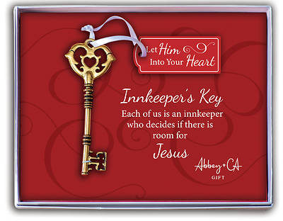 Picture of Antique Gold Innkeeper's Key With Tag Ornament - Gift Boxed