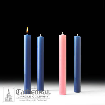 """Picture of Cathedral 51% Beeswax Advent Candle Set 12"""" X 1-1/2"""" - 3 Sarum Blue, 1 Rose"""