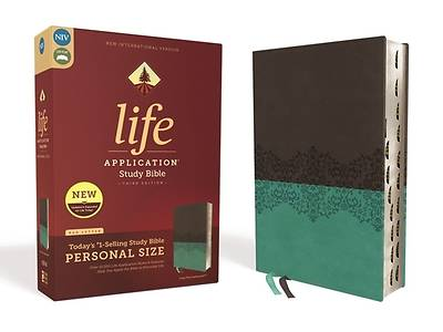 Niv, Life Application Study Bible, Third Edition, Personal Size, Leathersoft, Gray/Teal, Indexed, Red Letter Edition