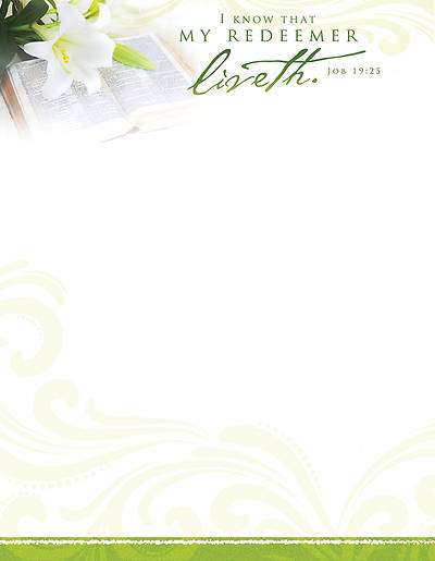 Easter My Redeemer Liveth Letterhead (Package of 100)