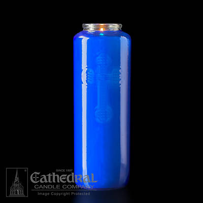 Cathedral 6-Day Glass Offering Candle - Blue