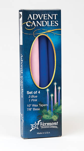 "Picture of Advent Candles (3 Blue 1 Pink) 10""x 7/8' Tapered Set"