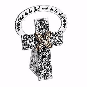 Picture of Give It To God And Go To Sleep Bedside Cross