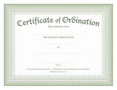 Picture of Ordination Certificate Green Foil Embossed, Package of 6