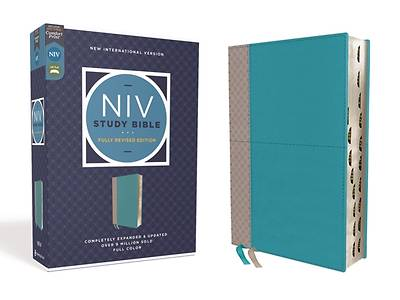 Picture of NIV Study Bible, Fully Revised Edition, Leathersoft, Teal/Gray, Red Letter, Thumb Indexed, Comfort Print