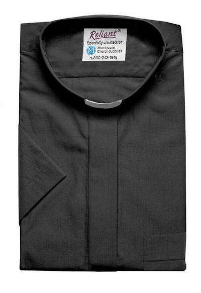 """Picture of Reliant Short Sleeve Clergy Shirt with Tab Collar Black - 15 1/2"""""""