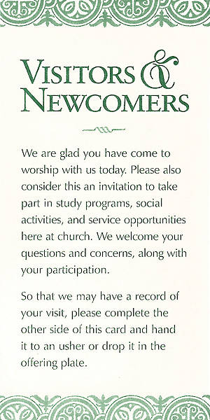 Visitors and Newcomers Card [Pack of 100]