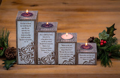 Picture of Love Hope Peace Joy Pillar Advent Set with Tea Lights Boxed