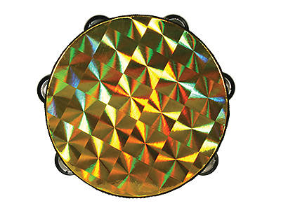 Gold Starburst Single Row Tambourine - 8""