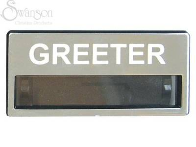 Brushed Silver Greeter Badge with Window
