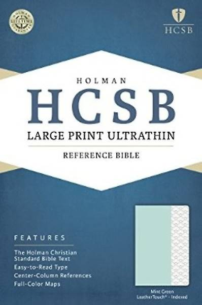 HCSB Large Print Ultrathin Reference Bible, Mint Green Leathertouch, Indexed