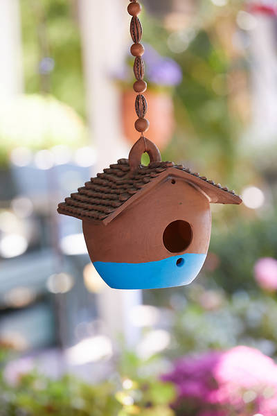 Low Nepali Birdhouse - Blue Base