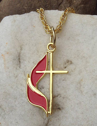 Picture of UM Cross & Flame Necklace - Gold Plated
