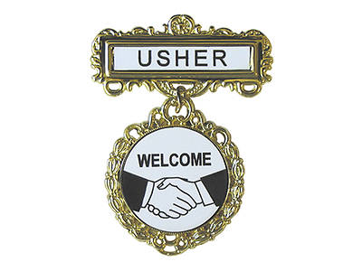 Gold Usher Welcome Fancy Round Badge