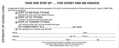 Picture of New Consecration Sunday Estimate of Giving Card (Pkg of 100)