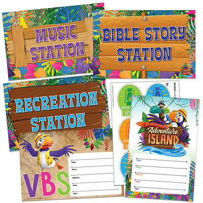Picture of Vacation Bible School (VBS) 2021 Discovery on Adventure Island Activity Center Signs & Publicity Pak