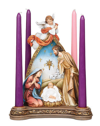 Picture of Advent Angel Over Holy Family Candle Holder