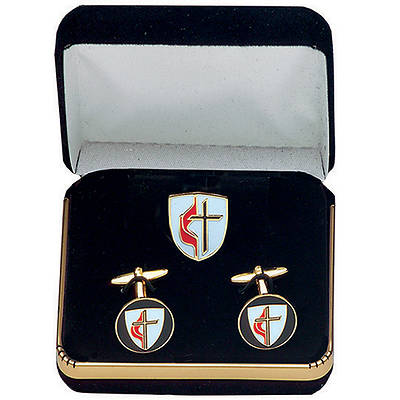 Picture of United Methodist Cuff Links and Lapel Pin Set